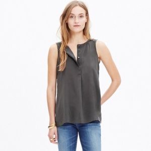 Madewell 100% Silk Composition Gray Tank Top M